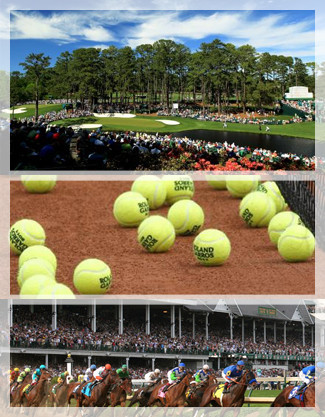 Augusta Masters Golf Club, Kentucky Derby, Roland Garros tennis balls