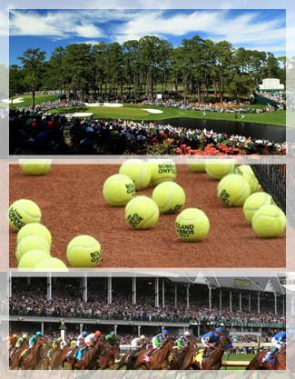 Augusta Masters Golf Club, Kentucky Derby, Roland Garros tennis balls